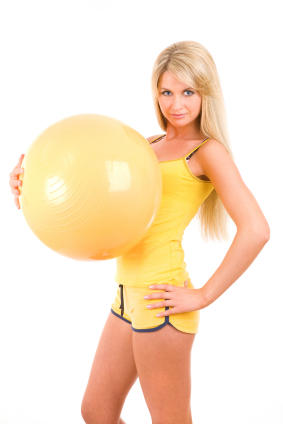 girl with a ball for fitness