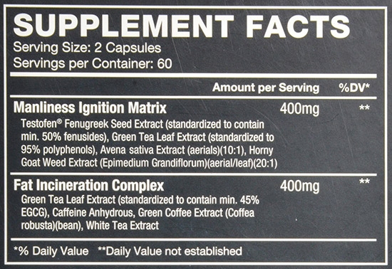 TestX180-ignite-supplement-facts