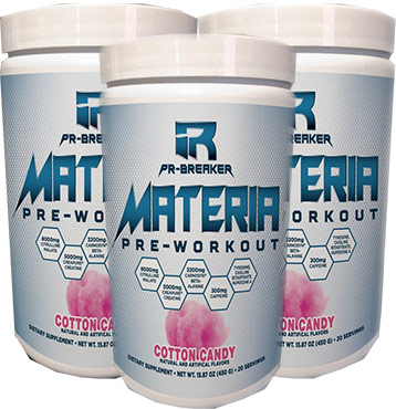 3 bottles of materia pre workout next to each other artistically, presented to show the reader how they look.