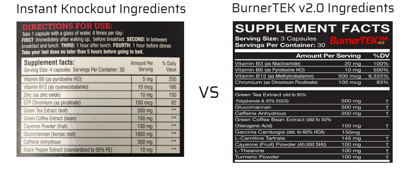 Instant Knockout Vs BurnerTEK ingredients