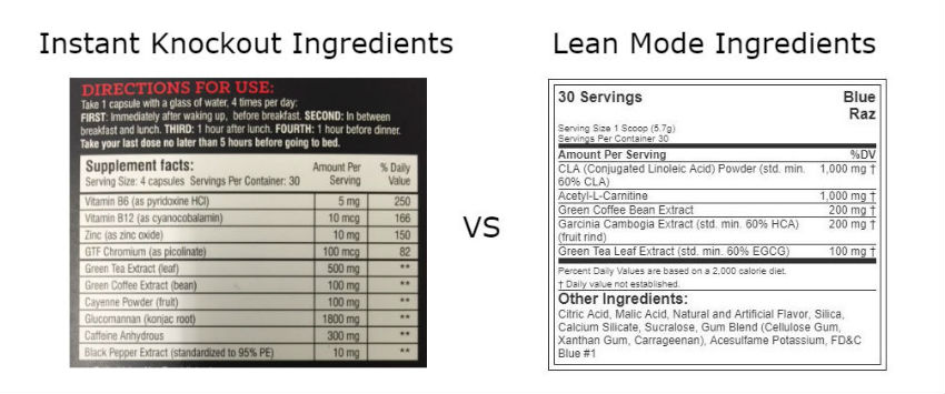 Instant Knockout vs Lean Mode Ingredients
